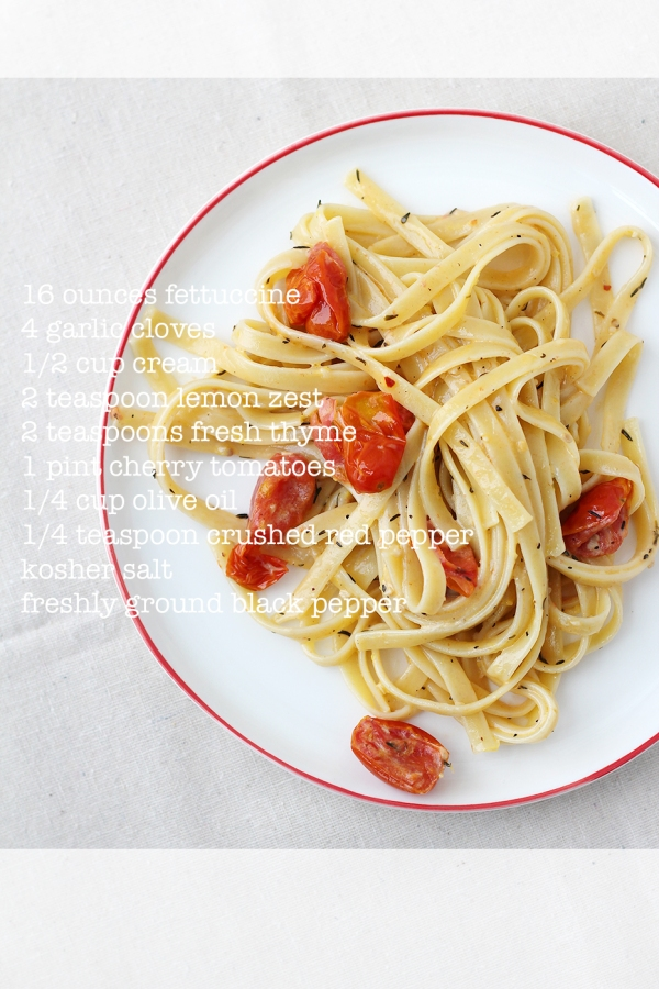 Fettuccine with Garlic Cream Sauce and Tomatoes2